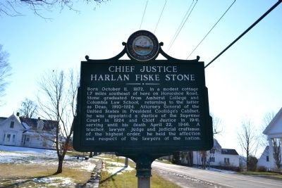 Chief Justice Harlan Fiske Stone Marker image. Click for full size.