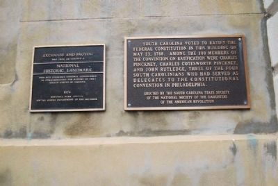 National Historic Landmark Plaque (Left)<br>Convention on Ratification Marker (Right) image. Click for full size.