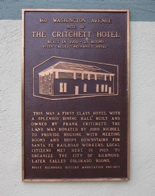 The Critchett Hotel Marker image. Click for full size.