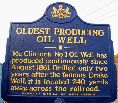 Oldest Oil Producing Well Marker image. Click for full size.