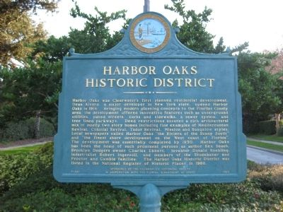 Harbor Oaks Historic District Marker image. Click for full size.