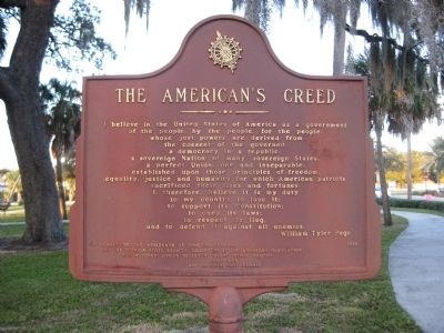 The American's Creed Marker image. Click for full size.