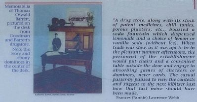 Left lower center picture - ..desk from Goodman and Barrett's drugstore ... image. Click for full size.