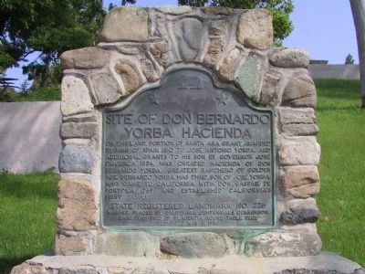 Site of Don Bernardo Yorba Hacienda Marker image. Click for full size.