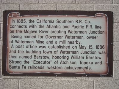 Waterman Junction becomes Barstow 1886 Marker image. Click for full size.