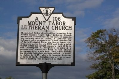 Mount Tabor Lutheran Church Marker image. Click for full size.