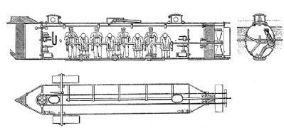Drawings of the CSS <i>H.L. Hunley</i> image. Click for full size.