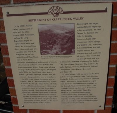 Settlement of Clear Creek Valley Marker image. Click for full size.