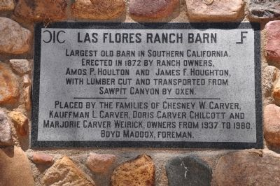 Las Flores Ranch Barn Marker image. Click for full size.