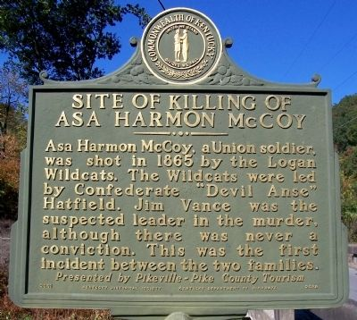 Site of Killing of Asa Harmon McCoy Marker Photo, Click for full size