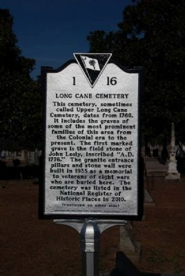 Long Cane Cemetery Marker<br>Front image. Click for full size.