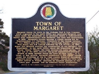 Town of Margaret Marker image. Click for full size.