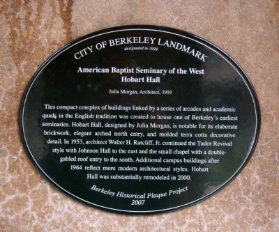 American Baptist Seminary of the West - Hobart Hall Marker image. Click for full size.