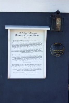 113 Ashley Avenue Bennett - Hayne House Marker, also included: image. Click for full size.