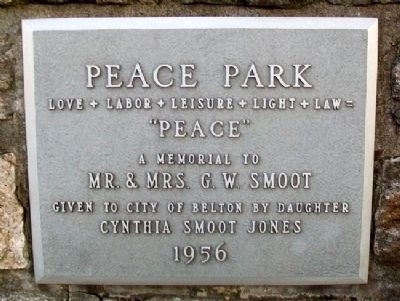Smoot Peace Park Marker image. Click for full size.