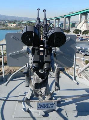S.S. <i>Lane Victory</i> - twin 20 mm. gun mount on starboard side. Photo, Click for full size