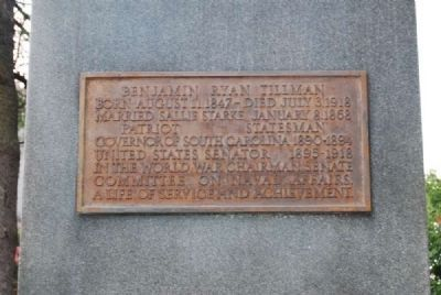 Benjamin Ryan Tillman Monument<br>North Plaque image. Click for full size.