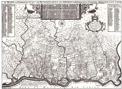 Philadelphia map by Thomas Holmes - 1687 image. Click for full size.