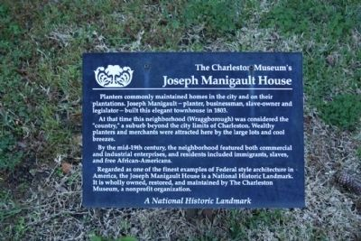 The Charleston Museum's Joseph Manigault House Marker Photo, Click for full size