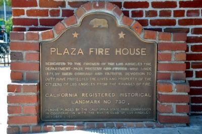 Plaza Fire House Marker image. Click for full size.