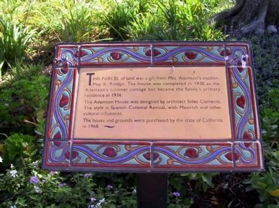 An Adamson House Interpretive Panel Placed on the Grounds image. Click for full size.