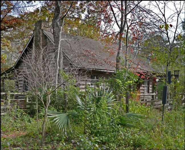 Rear of Moore Log House image. Click for full size.