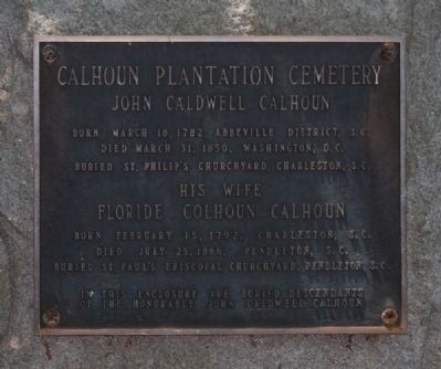 Calhoun Plantation Cemetery Marker image. Click for full size.