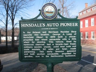 Hinsdale's Auto Pioneer Marker image. Click for full size.
