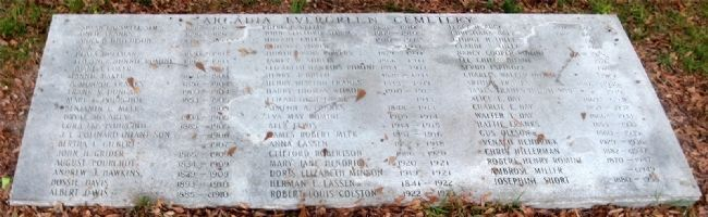 A Granite Slab Containing a List of Those Buried in Evergreen Cemetery image. Click for full size.