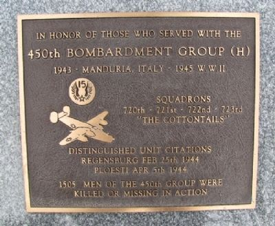 450th Bombardment Group (H) Marker image. Click for full size.