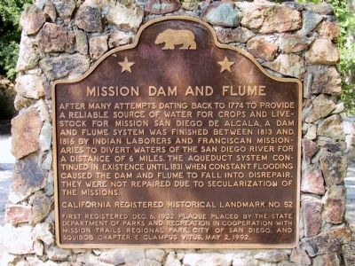 Mission Dam and Flume Marker image. Click for full size.