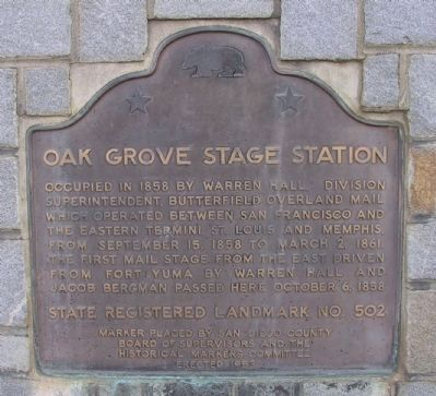 Oak Grove Stage Station Marker image. Click for full size.