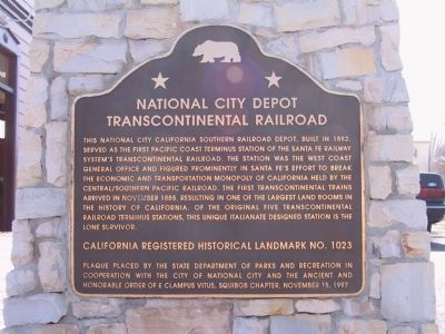 National City Depot Marker Photo, Click for full size