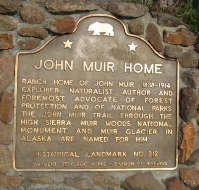 John Muir Home Marker image. Click for full size.