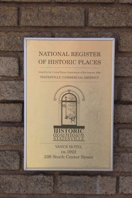Vance Hotel National Register of Historic Places Marker image. Click for full size.