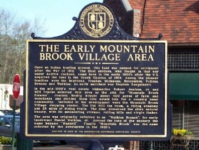 The Early Mountain Brook Village Area Marker image. Click for full size.
