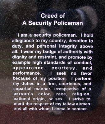 USAF Security Police Creed image. Click for full size.