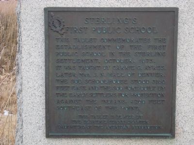 Sterling�s First Public School Marker image. Click for full size.