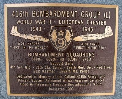 416th Bombardment Group (L) Marker image. Click for full size.