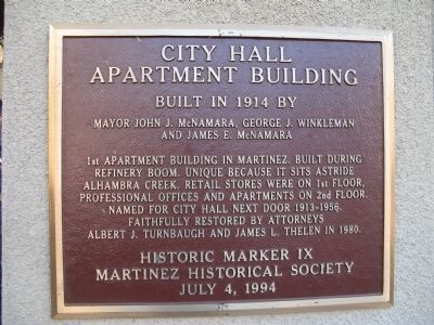City Hall Apartment Building Marker image. Click for full size.