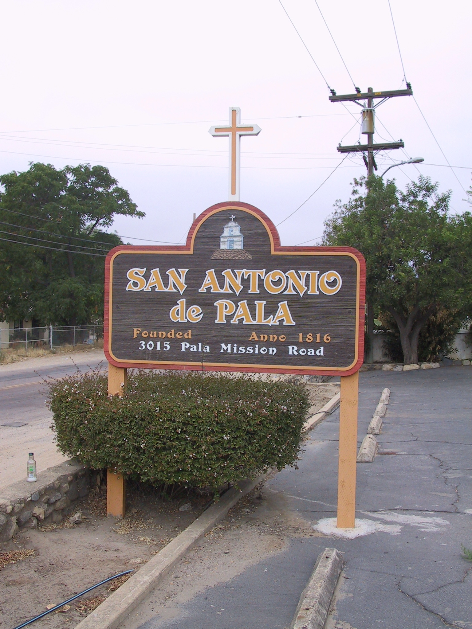 Entrance Sign at 3015 Pala Mission Road