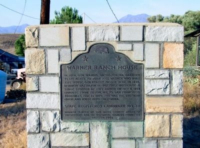 Warner Ranch House Marker image. Click for full size.