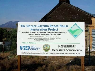 The Warner-Carrillo Ranch House Restoration Project image. Click for full size.