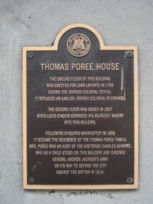 Thomas Poree House Marker image. Click for full size.