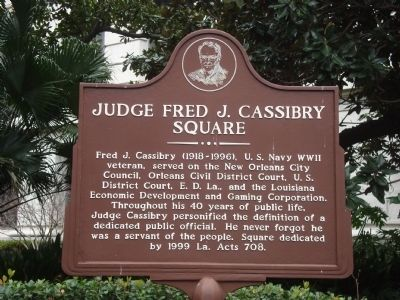 Judge Fred J. Cassibry Square Marker image. Click for full size.