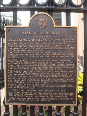 Bank of Louisiana Marker image. Click for full size.