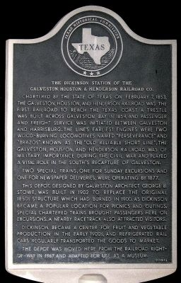 Dickinson Station of the GH&H Railroad Marker image. Click for full size.