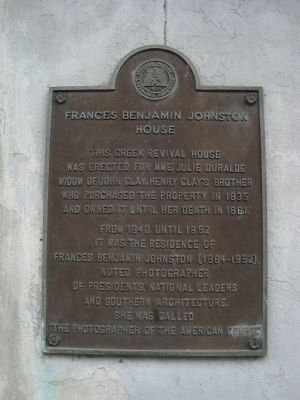 Frances Benjamin Johnston House Marker Photo, Click for full size
