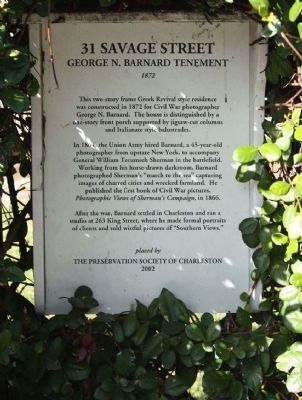 31 Savage Street ���George N. Barnard Tenement Marker image. Click for full size.