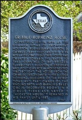 Gribble-Hofheinz House Marker image. Click for full size.